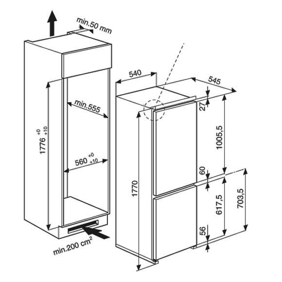 Frigorifero bauknecht altamente affidabile da incasso for Dimensioni frigorifero